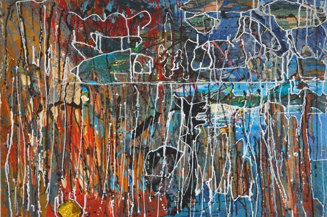 Lockdown #1 Acrylic paint and skins on panel. 70x100x3.5cm Linda Sgoluppi